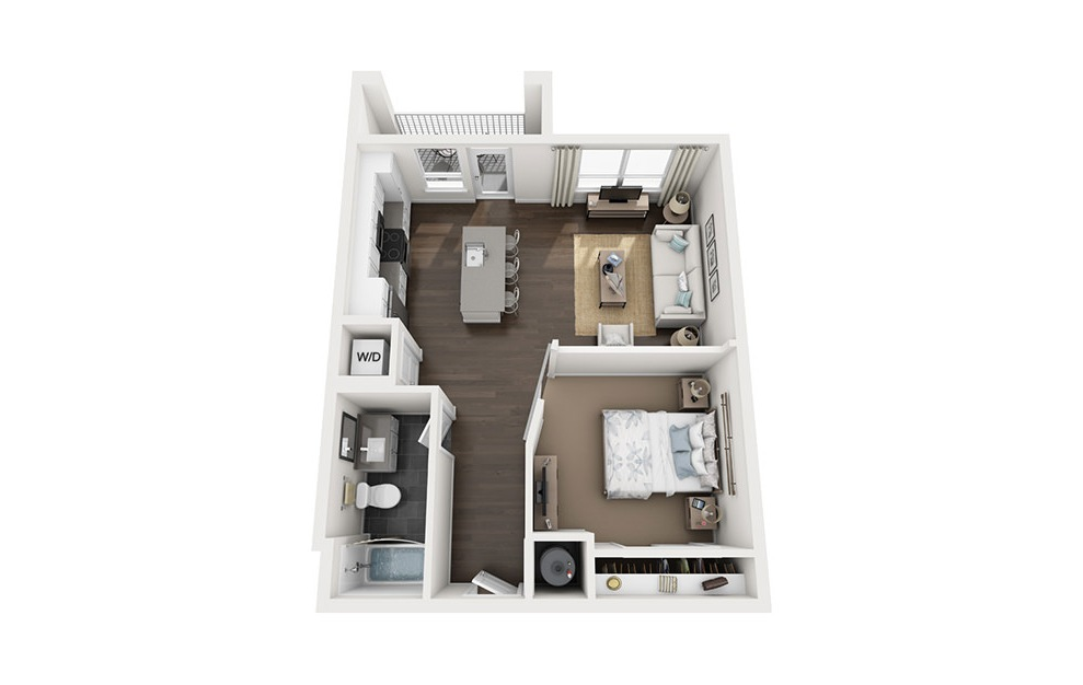 A1 - 1 bedroom floorplan layout with 1 bath and 670 square feet. (3D)