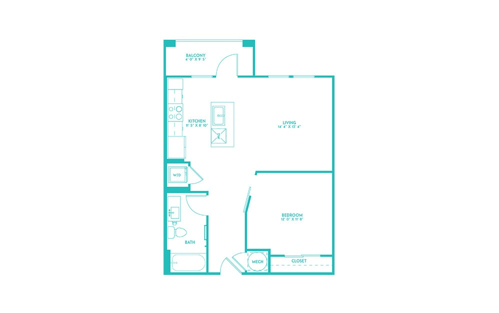 A1 - 1 bedroom floorplan layout with 1 bath and 670 square feet. (2D)
