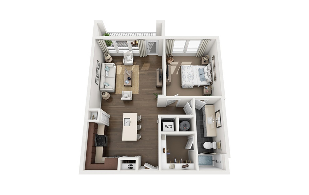A2 - 1 bedroom floorplan layout with 1 bath and 797 square feet. (3D)