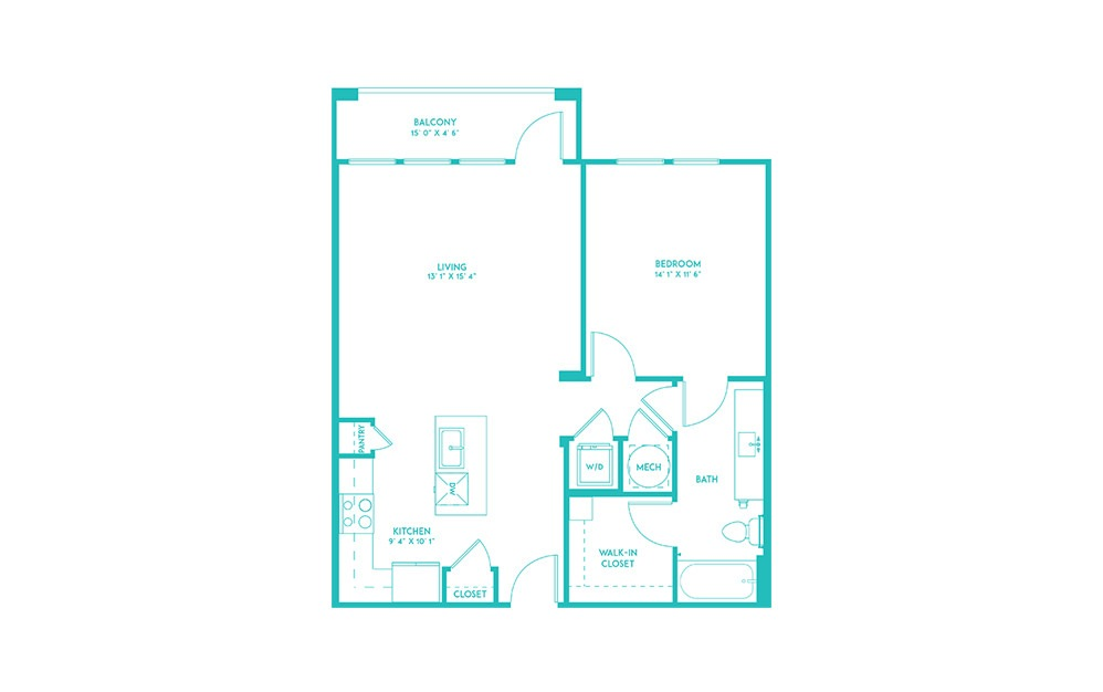 A2 - 1 bedroom floorplan layout with 1 bath and 797 square feet. (2D)