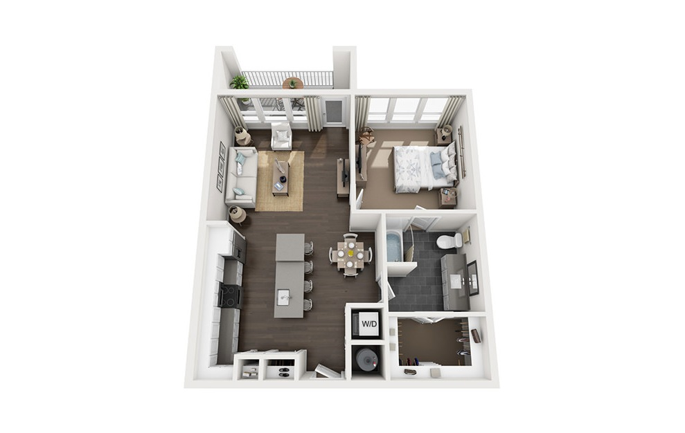 A3 - 1 bedroom floorplan layout with 1 bath and 840 square feet. (3D)