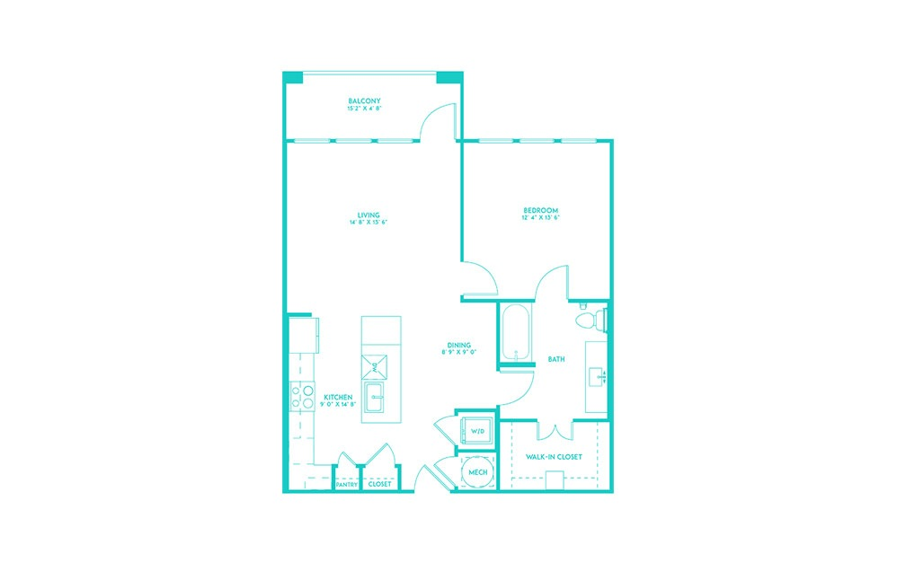 A3 - 1 bedroom floorplan layout with 1 bath and 840 square feet. (2D)