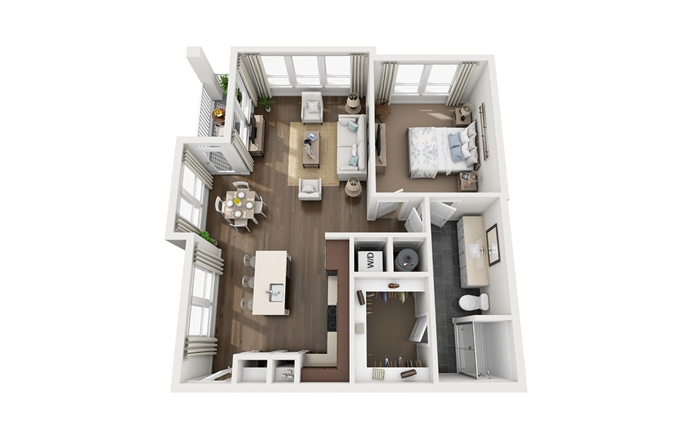 A4 - 1 bedroom floorplan layout with 1 bath and 887 square feet. (3D)