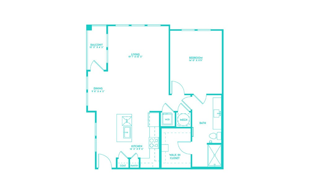 A4 - 1 bedroom floorplan layout with 1 bath and 887 square feet. (2D)