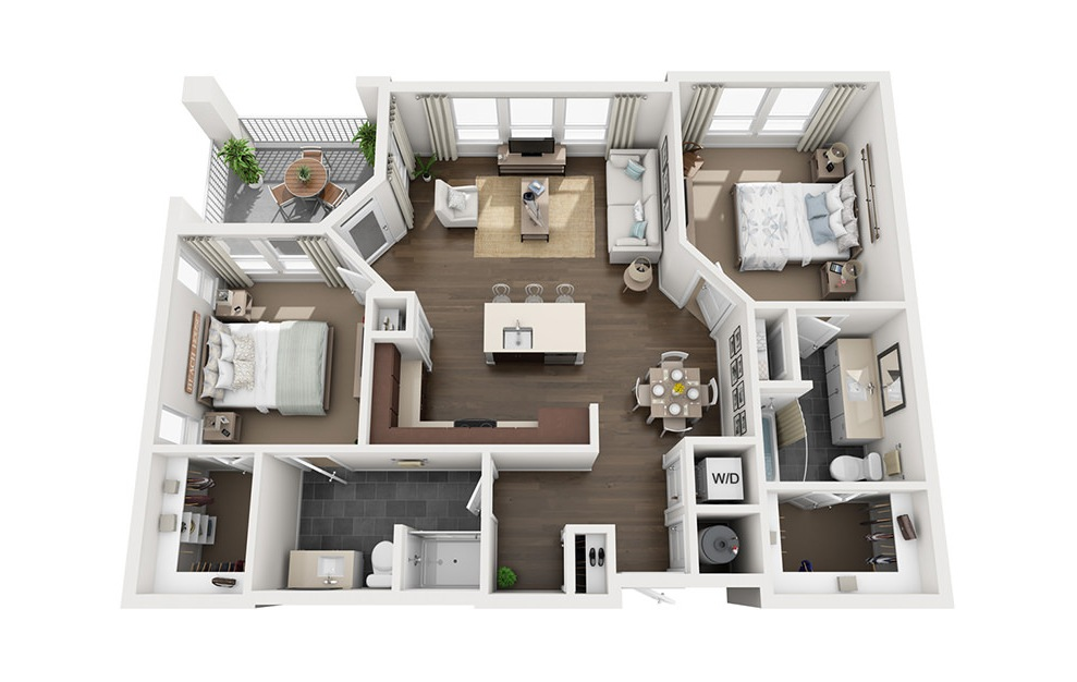 B1 - 2 bedroom floorplan layout with 2 baths and 1089 square feet. (3D)