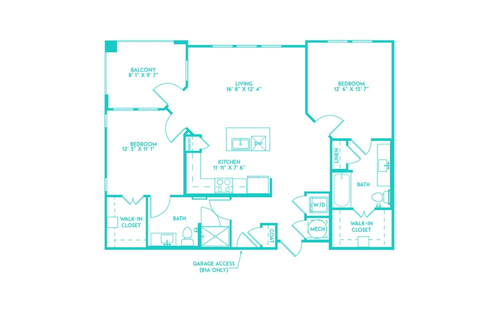 B1 - 2 bedroom floorplan layout with 2 baths and 1089 square feet. (2D)