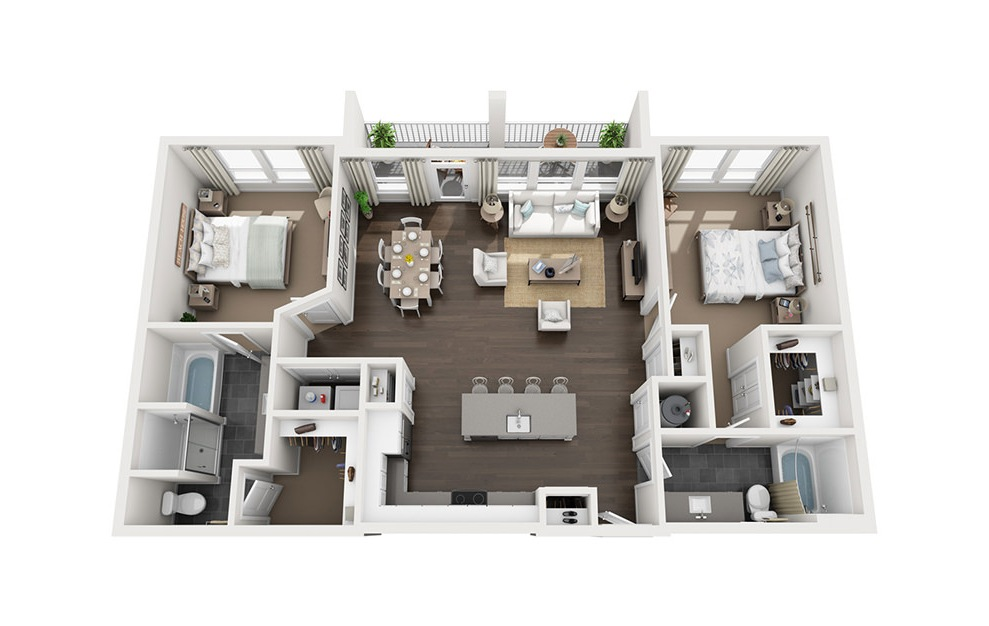 B3 - 2 bedroom floorplan layout with 2 baths and 1254 square feet. (3D)