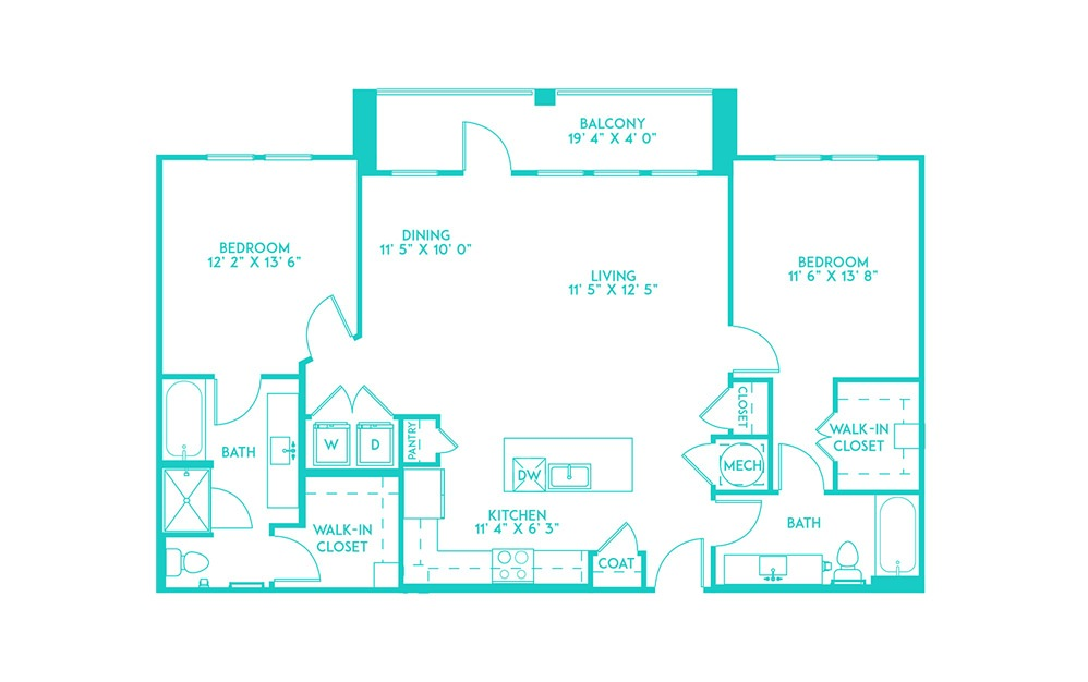 B3 - 2 bedroom floorplan layout with 2 baths and 1254 square feet. (2D)