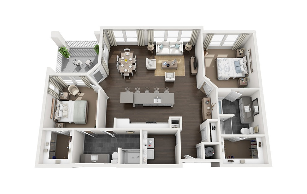 B4 - 2 bedroom floorplan layout with 2 baths and 1361 square feet. (3D)