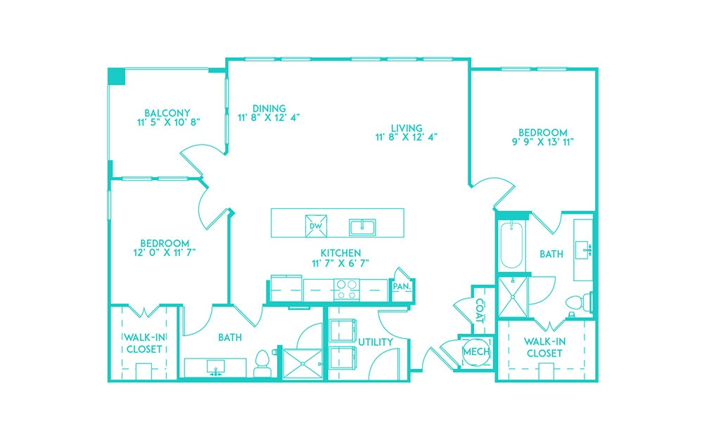 B4 - 2 bedroom floorplan layout with 2 baths and 1361 square feet. (2D)