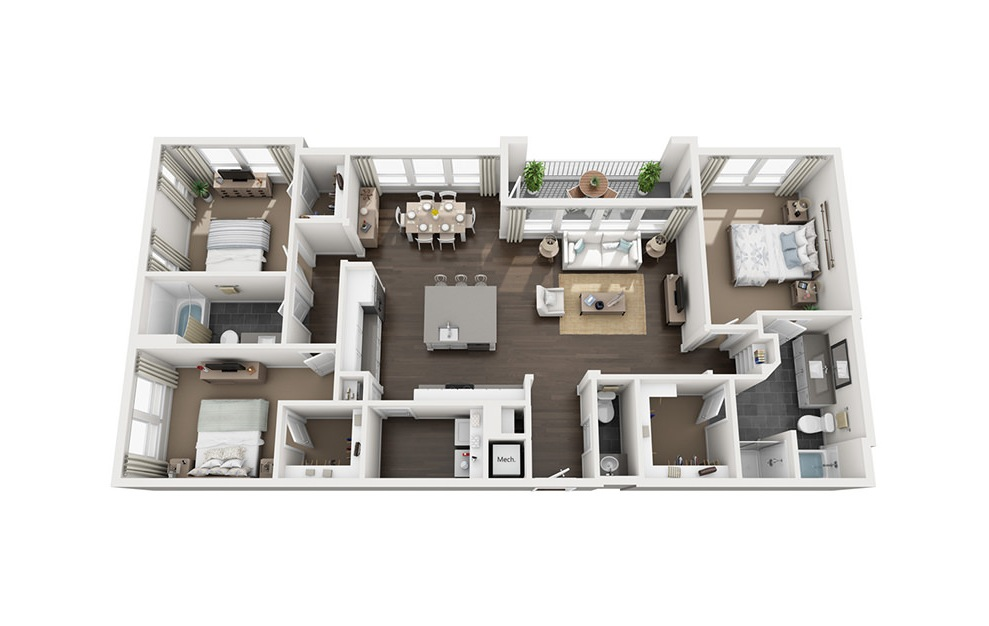 C1 - 3 bedroom floorplan layout with 2.5 baths and 1567 to 1598 square feet. (3D)
