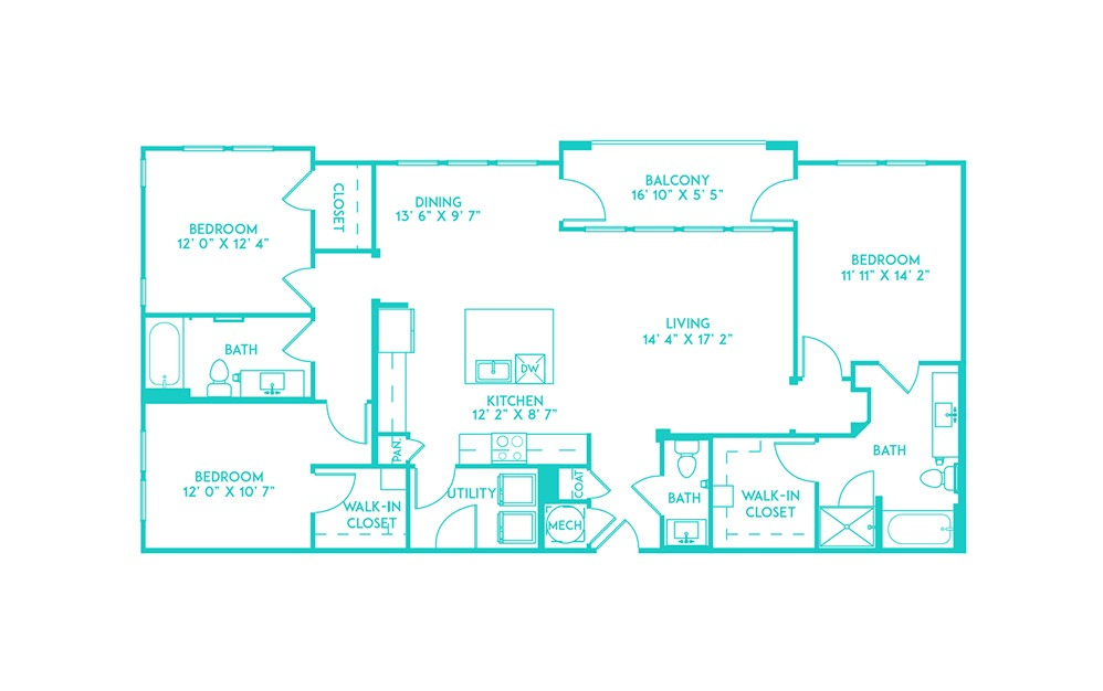 C1 - 3 bedroom floorplan layout with 2.5 baths and 1567 to 1598 square feet. (2D)