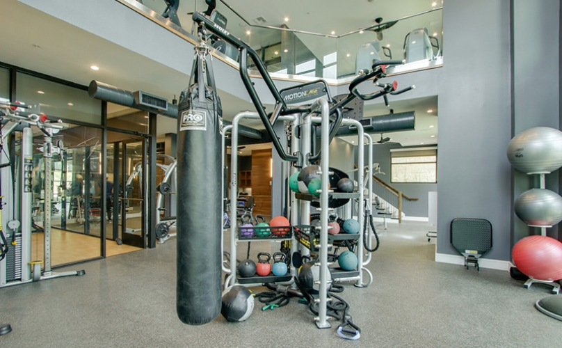 fitness center with heavy bag